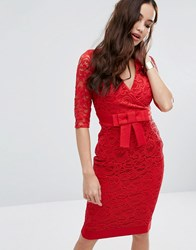 Vesper Wrap Front Lace Pencil Dress With Bow Waist Red