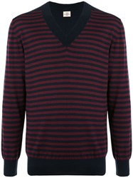 Kent And Curwen V Neck Striped Jumper Red