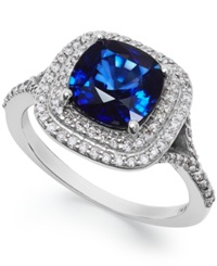 Effy Collection Velvet Bleu By Effy Manufactured Diffused Sapphire 2 1 2 Ct. T.W. And Diamond 1 3 Ct. T.W. Ring In 14K White Gold Blue