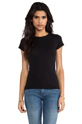 Velvet By Graham And Spencer Jemma Gauzy Whisper Crew Top Black