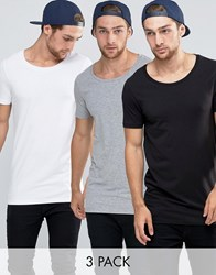 Asos 3 Pack Longline Muscle T Shirt With Scoop Neck In White Black Grey White Blk Grey Marl Multi