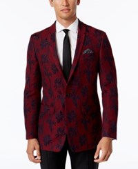 Tallia Men's Big And Tall Slim Fit Red Black Floral Print Sport Coat