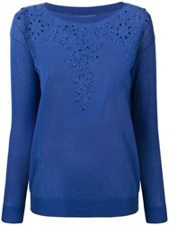 Ermanno Scervino Embroidered Knit Sweater Blue