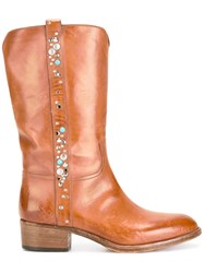 Sartore Studded Mid Calf Boots Brown