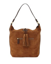 Frye Clara Suede Tassel Hobo Bag Brown