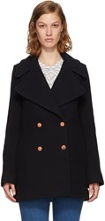See By Chloe Navy Wool Double Breasted Coat