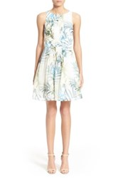 Ted Baker 'Ameda' Pleat Floral Print Fit And Flare Dress White