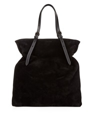 Tomas Maier North South Contrast Handle Suede Tote