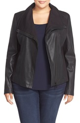T Tahari Drape Collar Featherweight Leather Jacket Plus Size Black