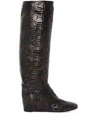 Elena Iachi 50Mm Python Embossed Faux Leather Boots Black Gold