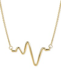 Sarah Chloe Large Heartbeat Pendant Necklace In 14K Gold 16 2 Extender Yellow Gold