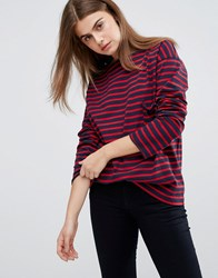 Mih Jeans M.I.H Slouch Stripe T Shirt Navy Red