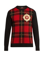Balmain Badge Embellished Tartan Sweater Red Multi