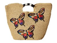 San Diego Hat Company Bsb1728 Paper Tote With Butterfly Embroidery Natural Tote Handbags Beige