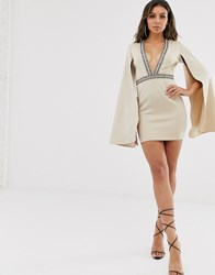 Rare London Embellished Plunge Front Mini Dress With Cape Detail In Beige