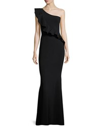 La Petite Robe Di Chiara Boni Custom Collection Marine One Shoulder Ruffle Gown Black