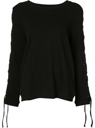 Rta Lace Up Sleeve Sweater Black