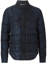 Dolce And Gabbana Leopard Print Padded Jacket Blue