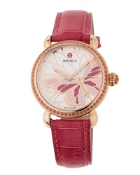 Michele Garden Party Butterfly Watch W Alligator Strap Pink