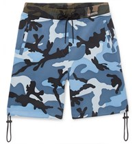 Valentino Camouflage Print Jersey Drawstring Shorts Blue