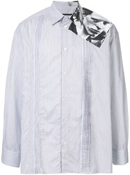 Raf Simons Pinstriped Shirt With Photo Print On The Shoulder White