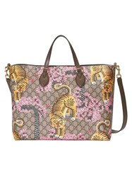 Gucci Bengal Soft Gg Tote Women Leather Canvas Microfibre One Size Brown