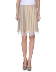 Gold Case Skirts Knee Length Skirts Women Beige