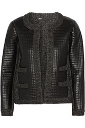 Maje Gommette Ribbed Knit And Faux Leather Jacket Gray