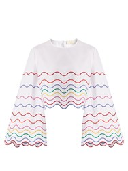 Sara Battaglia Wave Embroidered Bell Sleeve Cotton Top White Multi