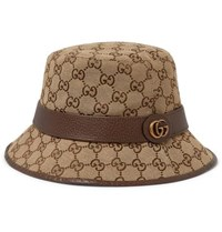 Gucci Leather Trimmed Monogrammed Canvas Bucket Hat Brown