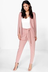 Boohoo Tie Waist Wrap Front Trouser Rose