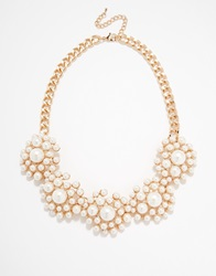 Warehouse Faux Pearl Flower Collar Necklace Cream