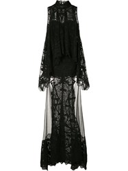 Jonathan Simkhai Layered Lace Gown Women Cotton Nylon 4 Black
