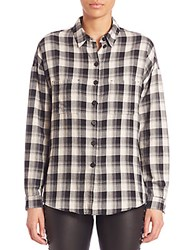 Set Plaid Button Front Shirt Black White