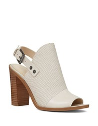 Nine West Leather Peep Toe Mules Off White