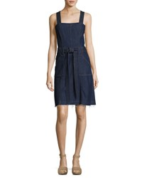 7 For All Mankind Sleeveless Belted Denim Dress Indigo
