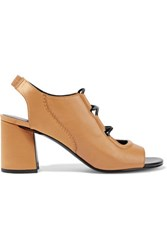 3.1 Phillip Lim Drum Lace Up Paneled Leather And Satin Sandals It37
