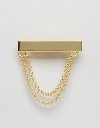 Asos Tie Bar With Chain In Gold Gold