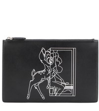 Givenchy Medium Pouch Bambi Printed Leather Clutch Black