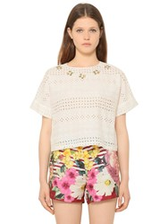 Blugirl Embroidered Cotton Eyelet Top