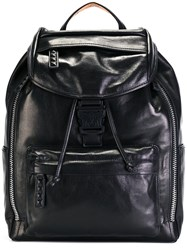 Mcm Logo Buckle Backpack Black