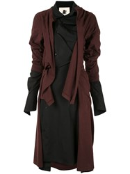 Aganovich Deconstructed Jersey Shirt Dress Brown