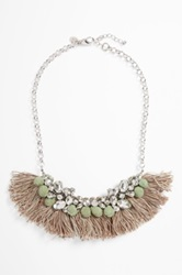 Berry Crystal And Fringe Statement Necklace Blue