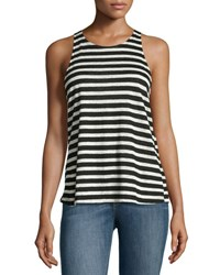 Frame Striped Army Tank Black White Multi Pattern