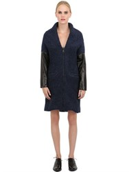 Morfosis Wool Boucle And Nappa Leather Coat
