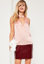 Missguided Pink Satin Sleeveless Choker Neck Blouse
