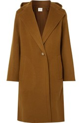 Vince Hooded Wool Blend Coat Brown