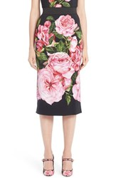 Dolce And Gabbana Women's Dole Rose Print Cady Pencil Skirt