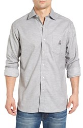 Psycho Bunny Men's Slim Fit Flannel Woven Shirt Heather Grey