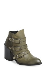 Baske California Women's 'Roscoe' Buckle Strap Bootie Steel Leather